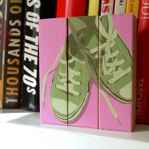 Lowtops,Olive,on,Pink,-,Mini,Triptych,Art,Illustration,wood,block,lowtops,shoes,olive,pink,paper,ink,glue,sealer