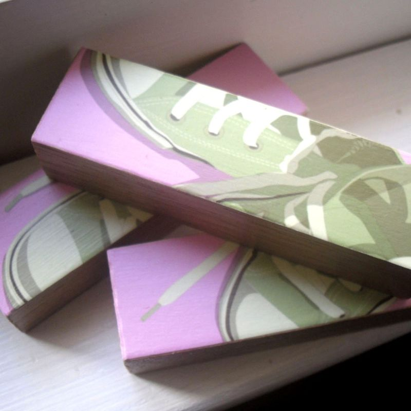 Lowtops Olive on Pink - Mini Triptych - product images  of