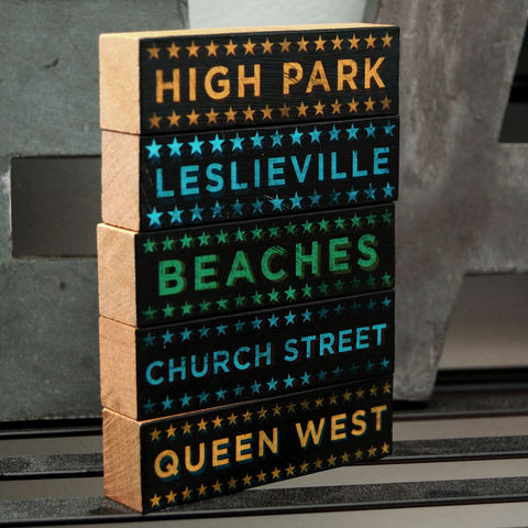 Toronto,Hoods,on,Wood,-,Five,Art,Block,Set,Pick,Your,Illustration,wood,block,black,city,neighborhood,hoods_on_wood,personalized_men,personalized_women,personalized_home,neighbourhood,canada,paper,ink,glue,sealer