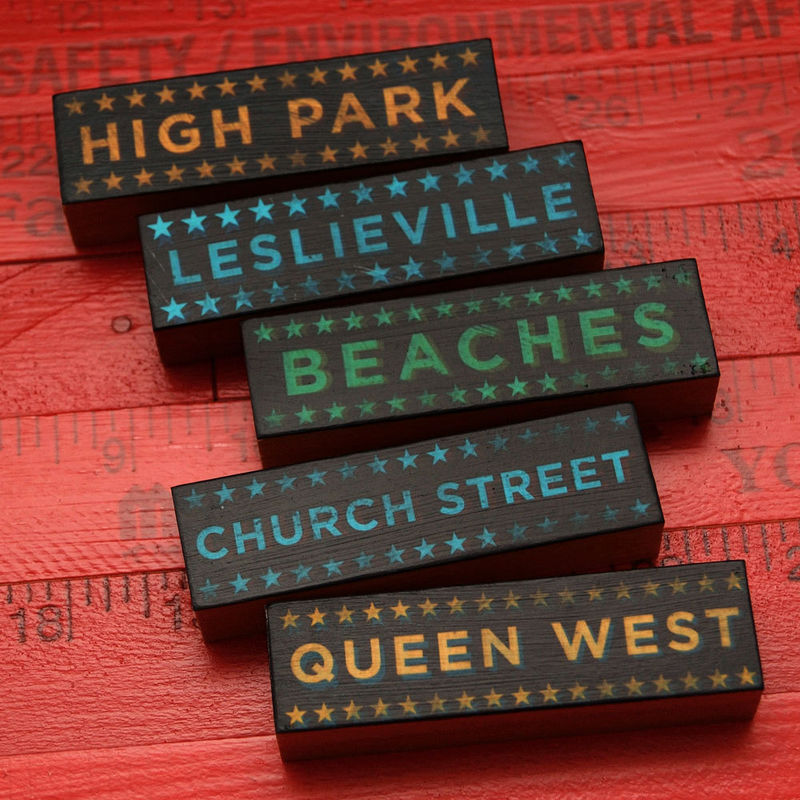 Toronto Hoods on Wood - Five Art Block Set - Pick Your Hoods - product images  of