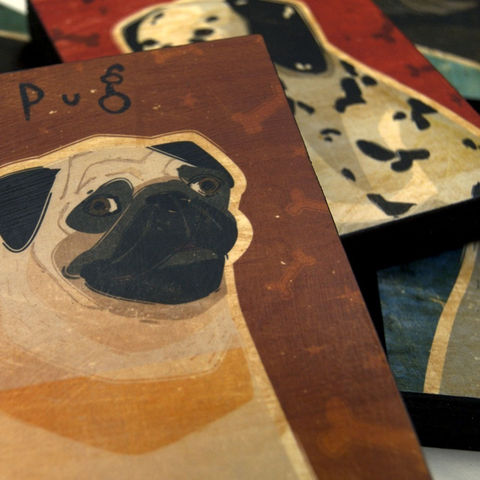 Pets,-,Dog,Series,Art,Block,Pick,the,Print,4,in,x,5,Illustration,wood,block,dog,breed,animal,gift,pets,puppy,glue,paper,ink,sealer