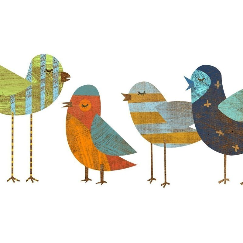Bird Art - Flock No. 1 Collage Print 8 in x 18 in - product images  of