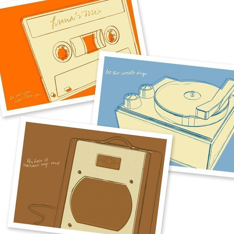 Lunastrella,Record,Player,,Mix,Tape,and,Swart,Space,Tone,Amplifier,5,in,x,7,Set,of,Three,Art,Print,Digital,record_player,phono,cassette,mix_tape,amplifier,music,orange,blue,brown,paper,ink