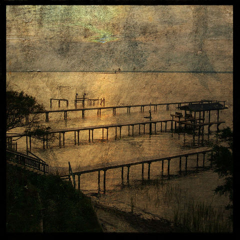 Above,The,Docks,Altered,Photograph,Art,Photography,Surreal,digital,brown,texture,moody,blue post, wilmington,north carolina,paper,ink