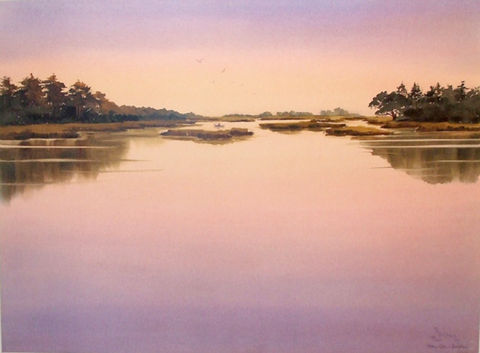 Eventide,Limited,Edition,Print,eventide, marsh, egret,boat,sunset, giclee, print, watercolor