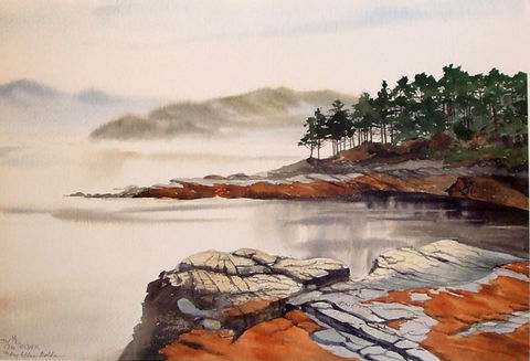 Highland,Mists,Limited,Edition,scotland,Loch Carron,rocks,trees,mist,mountains, water, giclee, print, watercolor