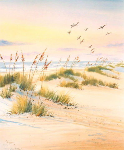 Pelican,Flight,Limited,Edition,seascape,pelicans,flight of pelicans,ocean,seaoats,water, sand dunes, giclee, print, watercolor