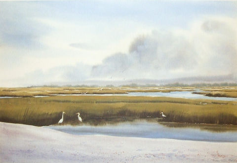 Tidal,Creek,Limited,Edition,seascape,creek, tidal creek, marsh,egrets, giclee, print, watercolor