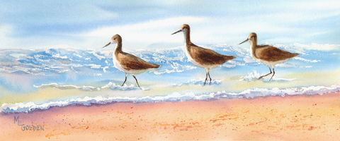 Ladies,Day,Out,giclée,print,sandpipers,ocean,beach,waves,sand,seashore,beach painting,watercolor