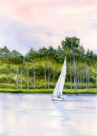 Riversail,Art Print Giclee, sailboat on river, sunset sail, nautical art, sailing on the river, green trees, bare trees, river landscape, river painting, watercolor painting, giclee print, river art