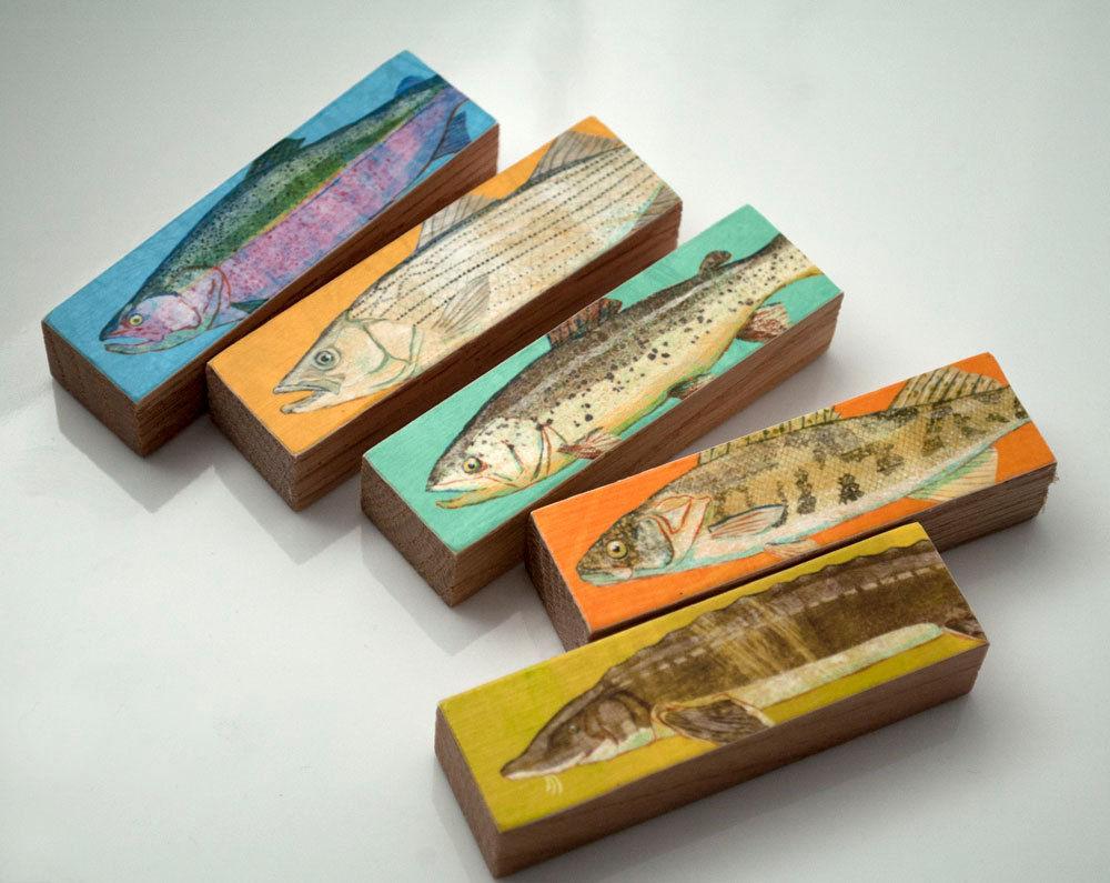 fish sticks - freshwater fish art block set of 5 fisherman gift