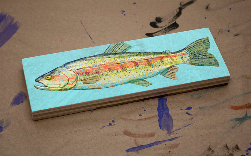 Freshwater Fish Art Medium Art Block - Rainbow Trout Print - 9 in x 3 in Fish Wall Decor Fisherman Gift - Fathers Day Gift for Dad - product images  of