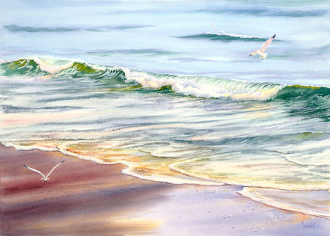 View,from,Oceanic,giclee print, Oceanic pier, crystal pier, Wrightsville Beach, ocean waves, foam, gull, sea gulls