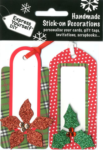 Tags,With,Holly,&,Poinsettia,Craft, Christmas, Toppers, Holly, Poinsettia, Tags