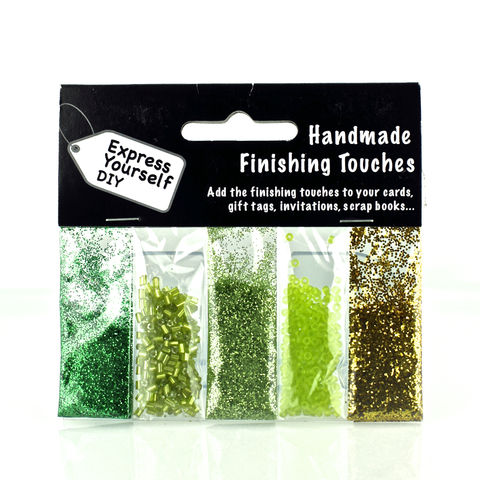 Green,Glitter,&,Beads,Craft, Beads, Green, Glitter, Finishing Touches