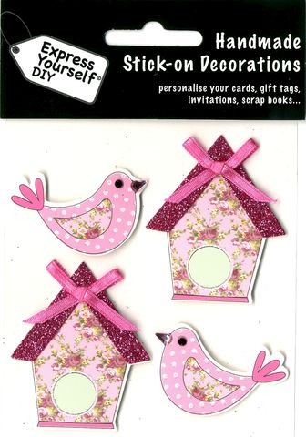 Birds,&,Bird,Houses,Craft, Birds, Bird Houses, Pink, Floral, Topper