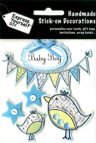 Baby,Boy,-,Bunting,&,Birds,Craft, Baby Boy, Birds, Bunting, Birth, Topper