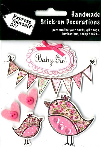 Baby,Girl,-,Bunting,&,Birds,Craft, Baby Girl, Birds, Bunting, Birth, Topper