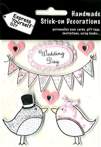 Wedding,Day,-,Birds,&,Bunting,Craft, Heart, Bunting, Bow, Wedding Day, Topper