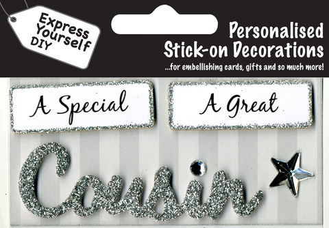 Make,It,Personal,(Caption,Topper),-,Cousin,(Silver),Craft, DIY, MIP, Make It Personal, Card Making, Personalised, Caption Toppers, Family Relation, Cousin, Silver, Words, Stick On Decoration