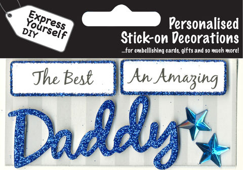 PACK 2 FATHERS DAY BLUE EMBELLISHMENT TOPPERS FOR CARDS AND CRAFTS