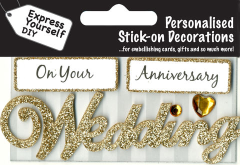 Make,It,Personal,(Caption,Topper),-,Wedding,Anniversary,(Gold),Craft, DIY, MIP, Make It Personal, Card Making, Personalised, Caption Toppers, Occasion, Wedding, Anniversary, Gold, Words, Stick On Decoration