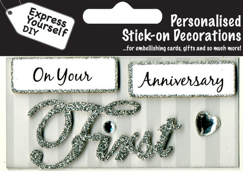 Make,It,Personal,(Caption,Topper),-,Anniversary,First,(Silver),Craft, DIY, MIP, Make It Personal, Card Making, Personalised, Caption Toppers, Occasion, First, Anniversary, silver, Words, Stick On Decoration