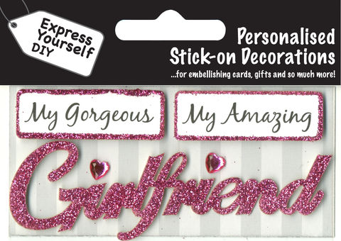 Make,It,Personal,(Caption,Topper),-,Girlfriend,(Pink),Craft, DIY, MIP, Make It Personal, Card Making, Personalised, Caption Toppers, Girlfriend, Pink, Words, Stick On Decoration