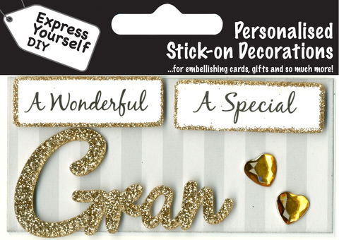 Make,It,Personal,(Caption,Topper),-,Gran,(Gold),Craft, DIY, MIP, Make It Personal, Card Making, Personalised, Caption Toppers, Female Family Relation, Gran, Gold, Words, Stick On Decoration