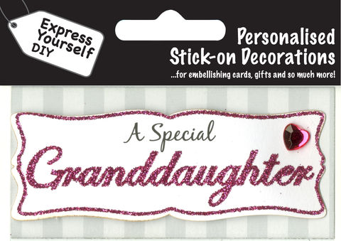 Make,It,Personal,(Caption,Topper),-,Granddaughter,(Pink),Craft, DIY, MIP, Make It Personal, Card Making, Personalised, Caption Toppers, Female Family Relation, Granddaughter, Pink, Words, Stick On Decoration