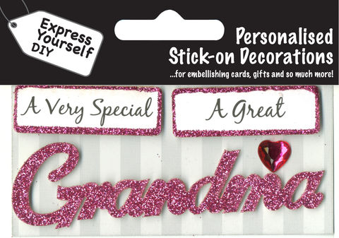 Make,It,Personal,(Caption,Topper),-,Grandma,(Pink),Craft, DIY, MIP, Make It Personal, Card Making, Personalised, Caption Toppers, Female Family Relation, Grandma, Pink, Words, Stick On Decoration