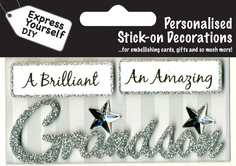 Make,It,Personal,(Caption,Topper),-,Grandson,(Silver),Craft, DIY, MIP, Make It Personal, Card Making, Personalised, Caption Toppers, Male Family Relation, Grandson, Silver, Words, Stick On Decoration