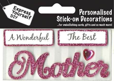 Make,It,Personal,(Caption,Topper),-,Mother,(Pink),Craft, DIY, MIP, Make It Personal, Card Making, Personalised, Caption Toppers, Female Family Relation, Mother, Pink, Words, Stick On Decoration