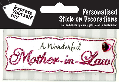 Make,It,Personal,(Caption,Topper),-,Mother,In,Law,(Pink),Craft, DIY, MIP, Make It Personal, Card Making, Personalised, Caption Toppers, Female Family Relation, Mother In Law, Pink, Words, Stick On Decoration