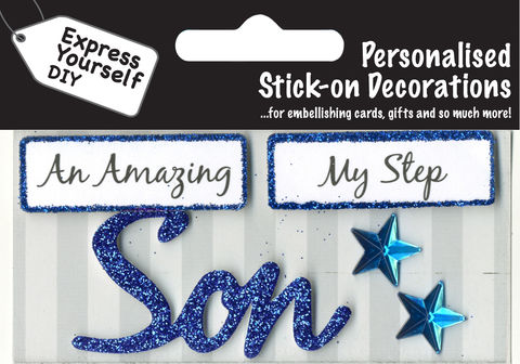 Make,It,Personal,(Caption,Topper),-,Son,(Blue),Craft, DIY, MIP, Make It Personal, Card Making, Personalised, Caption Toppers, Male Family Relation, Son, Blue, Words, Stick On Decoration