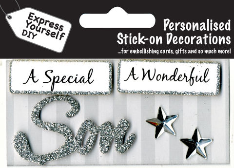 Make,It,Personal,(Caption,Topper),-,Son,(Silver),Craft, DIY, MIP, Make It Personal, Card Making, Personalised, Caption Toppers, Male Family Relation, Son, Silver, Words, Stick On Decoration