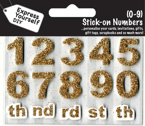Make,It,Personal,(Numbers),-,0,9,(Gold),Craft, DIY, MIP, Make It Personal, Card Making, Personalised, Number Toppers, Gold, Stick On Decoration