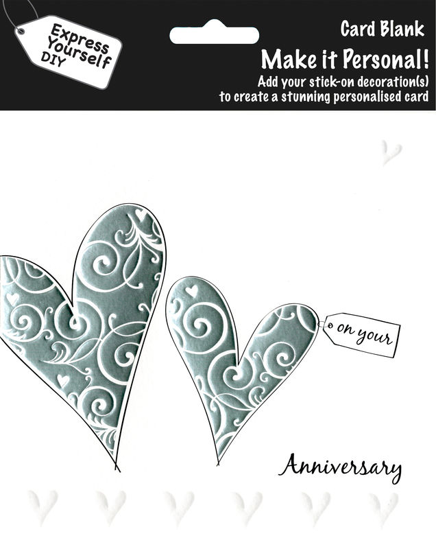 Make It Personal (Blank Card) - 2 Silver Hearts (On Your Anniversary) - product images