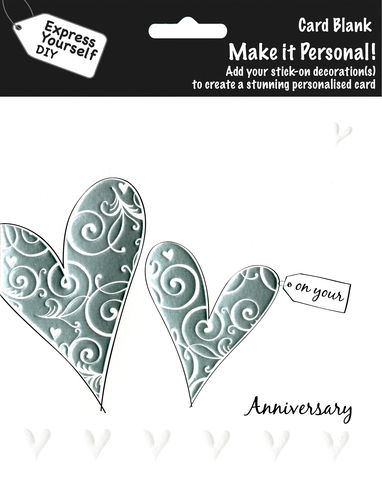 Make,It,Personal,(Blank,Card),-,2,Silver,Hearts,(On,Your,Anniversary),Craft, DIY, MIP, Make It Personal, Personalised, Heart, Silver, On Your Anniversary, Stick On Decoration, Blank Card