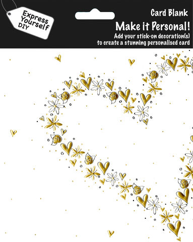 Make,It,Personal,(Blank,Card),-,Large,Heart,Craft, DIY, MIP, Make It Personal, Personalised, Heart, Gold, Stick On Decoration, Blank Card