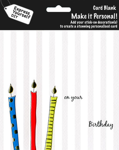 Make,It,Personal,(Blank,Card),-,Candles,On,Grey,Stripe,(On,Your,Birthday),Craft, DIY, MIP, Make It Personal, Personalised, Candles, Grey, On Your Birthday, Stick On Decoration, Blank Card