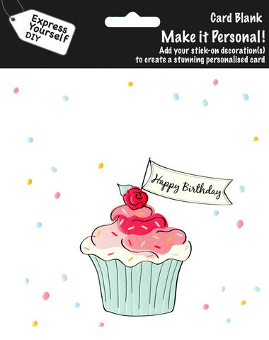 Make,It,Personal,(Blank,Card),-,Cupcake,(Happy,Birthday),Craft, DIY, MIP, Make It Personal, Personalised, Cupcake, Cake, White, Pink, Patterns, Happy Birthday, Stick On Decoration, Blank Card