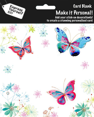 Make,It,Personal,(Blank,Card),-,Butterflies,&,Flowers,Craft, DIY, MIP, Make It Personal, Personalised, Butterflies, Flowers, White, Pink, Blue, Patterns, Stick On Decoration, Blank Card