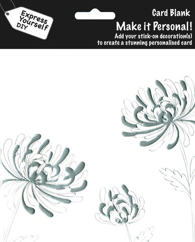 Make,It,Personal,(Blank,Card),-,Flowers,(Silver,chrysanthemum),Craft, DIY, MIP, Make It Personal, Personalised, Flowers, Silver chrysanthemum, White, Patterns, Stick On Decoration, Blank Card
