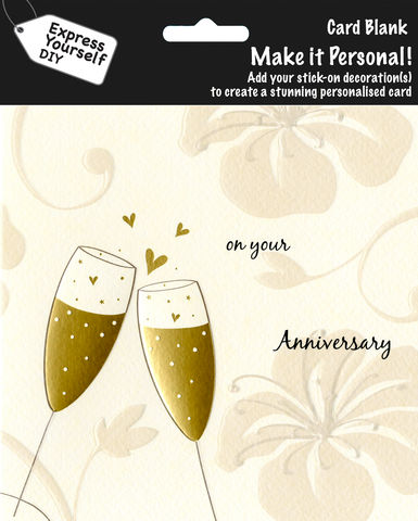 Make,It,Personal,(Blank,Card),-,Champagne,Glasses,(On,Your,Anniversary),Craft, DIY, MIP, Make It Personal, Personalised, Champagne Glasses, Gold, Flowers, On Your Anniversary, Stick On Decoration, Blank Card