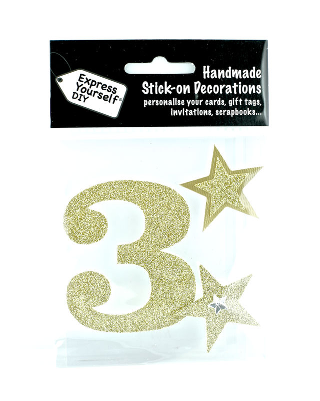 Large Gold Glitter Number 3 - product images  of