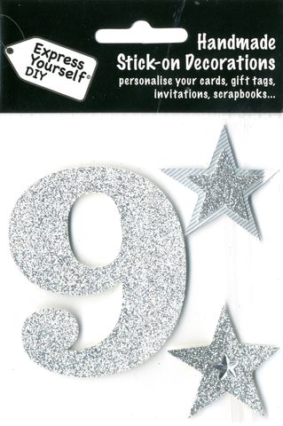 Large,Silver,Glitter,Number,9,Craft, Toppers, Large Numbers, Silver, Glitter