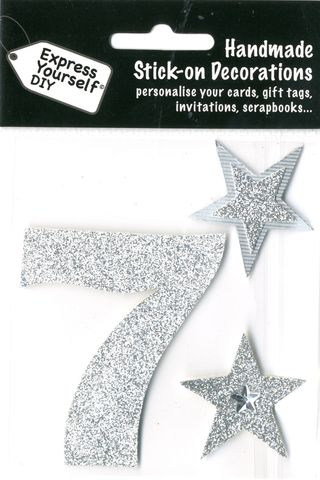 Large,Silver,Glitter,Number,7,Craft, Toppers, Large Numbers, Silver, Glitter