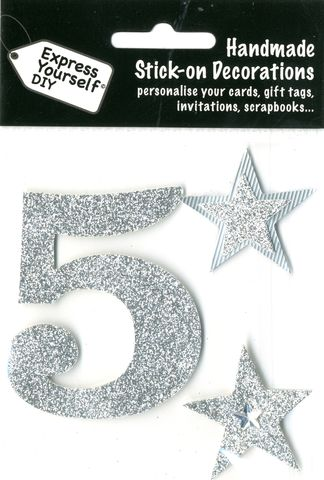 Large,Silver,Glitter,Number,5,Craft, Toppers, Large Numbers, Silver, Glitter