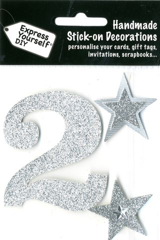 Large,Silver,Glitter,Number,2,Craft, Toppers, Large Numbers, Silver, Glitter